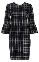 Wallis Women's Textured Check Bell Sleeve Shift Dress