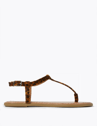 Marks and Spencer Leopard Print Flat T-Bar Sandals