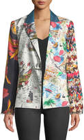 La Prestic Ouiston Tom Sawyer Long-Sleeve Mix-Print Silk Jacket