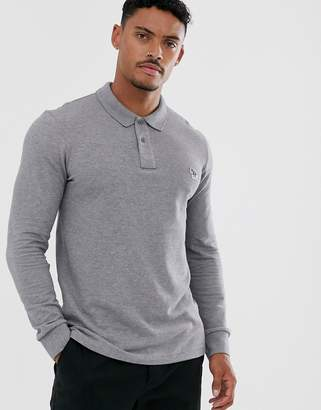 Paul Smith slim fit long sleeve zebra logo polo in grey