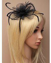 Inca Black Fascinator on Headband/ Clip-in for Weddings, Races and Occasions-5871