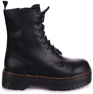 Mae Linzi Black Nappa Military Style Lace Up Boot With Chunky Rubber Sole