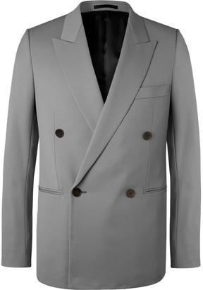 The Row Grey Julian Slim-Fit Double-Breasted Virgin Wool Blazer