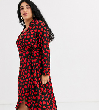 Wednesday's Girl Curve midaxi wrap dress in heart print