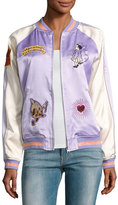 Opening Ceremony Fairytale Embroidered Silk Reversible Bomber Jacket, Lavender