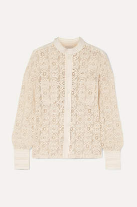 Philosophy di Lorenzo Serafini Gauze-trimmed Cotton-blend Lace Shirt - Ivory