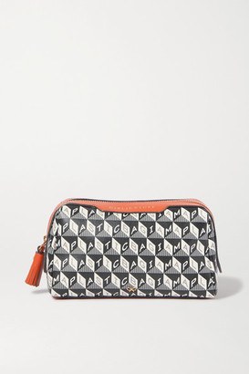 Anya Hindmarch Net Sustain Girlie Stuff Leather-trimmed Printed Coated-canvas Cosmetics Case - Navy