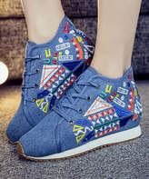 Denim Embroidered Wedge Sneaker
