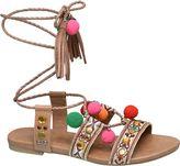 Catwalk Ankle Tie Pom Pom Sandals