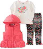 Kids Headquarters Baby Girls' 3-Pc. Hooded Vest, Top & Leggings Set