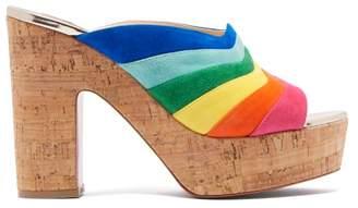 Christian Louboutin O Sister 120 Rainbow-stripe Suede Mules - Womens - Multi