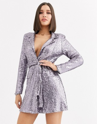 Club L London sequin tuxedo dress with belt detail in gunmetal