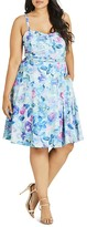 City Chic Rose Print Dress
