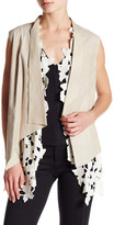 Elie Tahari Two Piece Genuine Leather Embroidered Knit Sleeveless Vest
