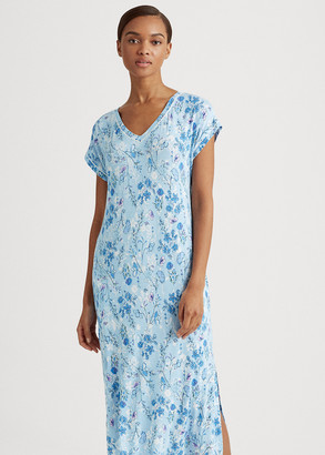 Ralph Lauren Floral Satin-Trim Nightgown