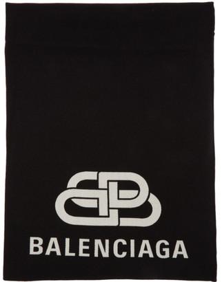 Balenciaga Black BB Blanket Scarf