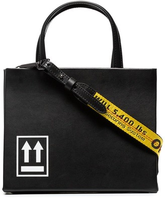 Off-White black Box small printed leather tote