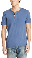 Denim & Supply Ralph Lauren Flag Placket Henley T-shirt, Pottery Blue