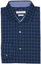 Perry Ellis Navy Plaid Dress Shirt