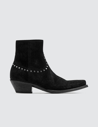 Saint Laurent Lukas Boots In Suede With Studs