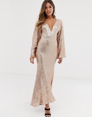 Club L London sequin plunge kimono sleeve fishtail maxi dress-Gold