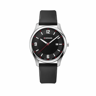 Wenger Men's City Active - Swiss Made Analogue Quartz Stainless Steel Black Silicone Watch 01.1441.109