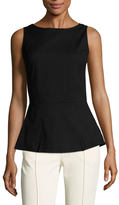 Josie Natori Cotton Structured Textured Peplum Top
