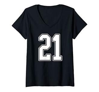 Womens White Outline Number 21 Sports Fan Jersey Style V-Neck T-Shirt