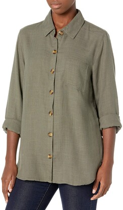Tribal Women's Button Front L/S Shirt-Hunter M
