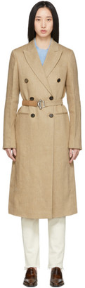 Victoria Beckham Beige Linen Belted Menswear Coat