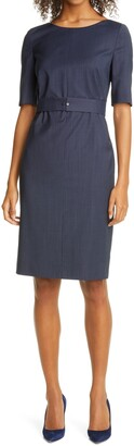 HUGO BOSS Dasteria Microcheck Belted Wool Blend Sheath Dress