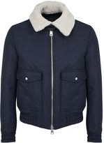Ami Indigo Shearling And Wool Blend Jacket