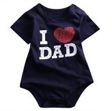 honeys Infant Baby Boy Girl I Love Mom I Love Dad Family Clothes Romper Onesie Bodysuit (M(6-12months), )