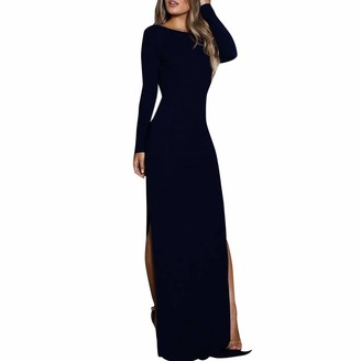 HOMEBABY Women Vintage Formal Cocktail Dress Classic Plus Size Ladies High Waist Sexy Party Wedding Summer Spring Swing Maxi Dress Navy