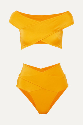 Oye Swimwear Lucette Wrap-effect Bikini - Yellow