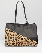 Asos Leather And Faux Pony Shopper Bag
