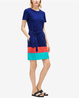 Lacoste Cotton Colorblocked Belted T-Shirt Dress