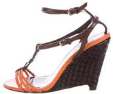 Burberry Woven Leather T-Strap Wedge Sandals