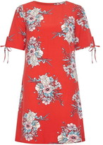 Yumi Blossom Print Ruche Sleeve Tunic Dress
