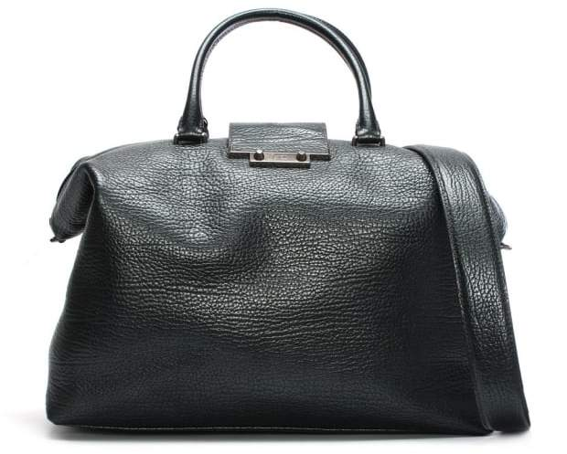Class Roberto Cavalli Phoenix Pewter Pebbled Leather Weekend Bag