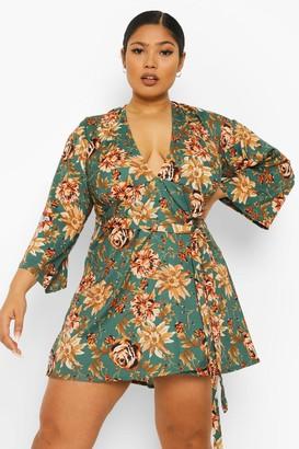 boohoo Plus Plunge Floral Print Skater Dress