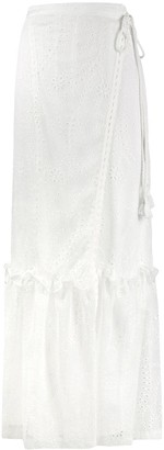 Pinko Tiered Eyelet Maxi Skirt