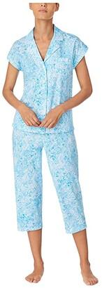 Lauren Ralph Lauren Classic Knits Dolman Sleeve Notch Collar Capri Pants Pajama Set (Blue Print) Women's Pajama Sets