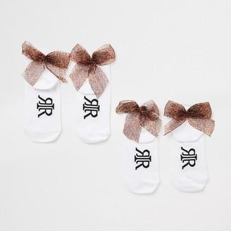 River Island Girls white leopard bow back socks 2 pack