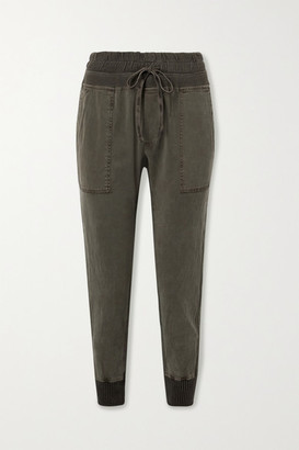 James Perse Jersey-trimmed Cotton-twill Track Pants - Green