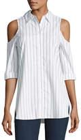 Neiman Marcus Cold-Shoulder Striped Blouse