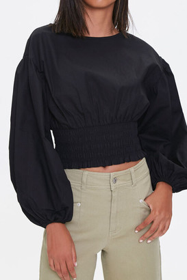 Forever 21 Smocked Balloon-Sleeve Top