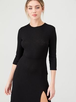 River Island Split Side Jersey Midi Dress - Black