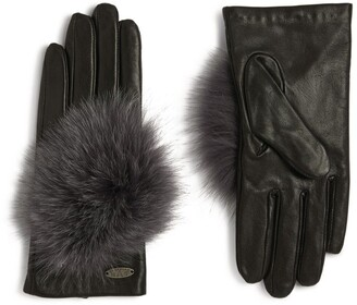 Canadian Hat Embellished Fox Fur Leather Gloves