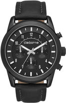 Claiborne Mens Black Leather Strap Watch
